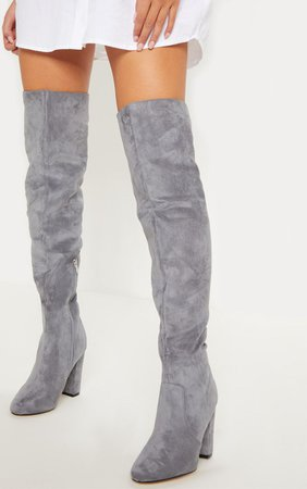 Grey Over The Knee Behati Boot   Shoes   PrettyLittleThing USA