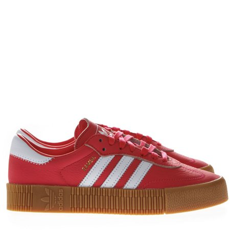 Adidas Originals Sambarose Red Leather Sneakers