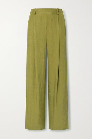 Crepe Wide-leg Pants - Army green