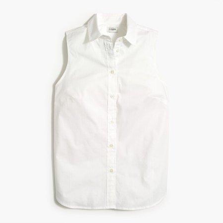 Sleeveless cotton poplin shirt in signature fit