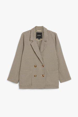 Double breasted blazer - Green and beige houndstooth - Blazers - Monki WW