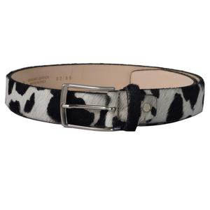 Cow print belt - black and white cow hide furry belt – Fioriblu