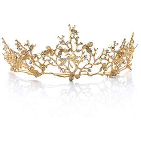 Yean Wedding Crown and Tiara Bridal Princess Queen Crown Baroque Vintage Rhinestone Headband for Bride and Bridesmaid (Black) : Beauty