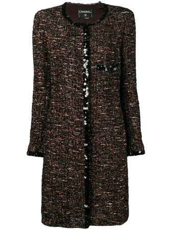 Shop brown & black Chanel Pre-Owned 2000's bouclé tweed coat with Express Delivery - Farfetch