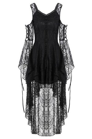 DW166 Black Gothic Elegant Lace High-Low Dress – Gothlolibeauty