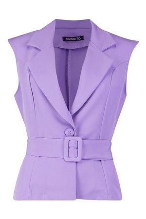 Sleeveless Belted Blazer | Boohoo