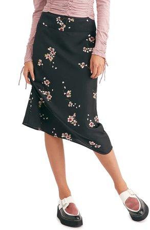 Free People Normani Print Bias Cut Midi Skirt | Nordstrom