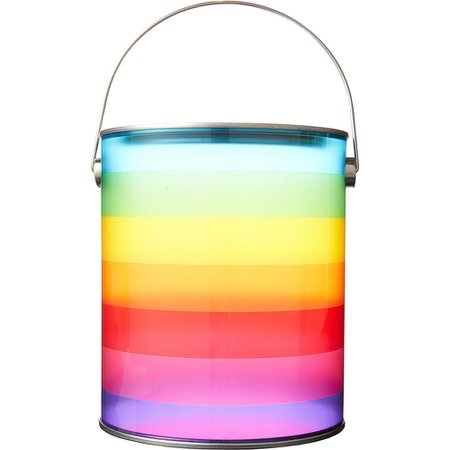 Large Rainbow Striped Plastic Favor Paint Can 4 3/4in x 5 3/4in | Party City Canada