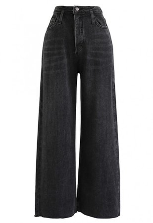 Pockets High-Waisted Wide-Leg Jeans in Black - Pants - BOTTOMS - Retro, Indie and Unique Fashion