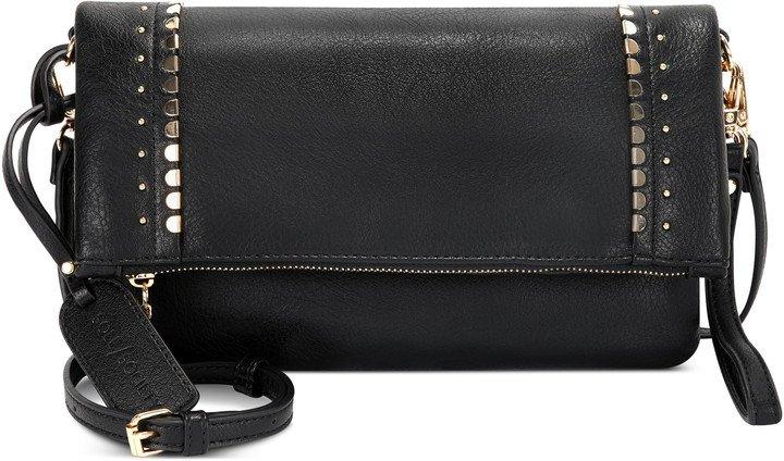 Studded Foldover Faux Leather Crossbody Bag