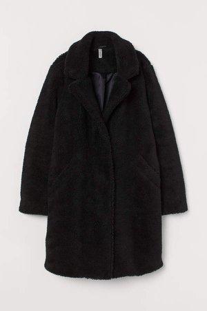 Faux Shearling Coat - Black