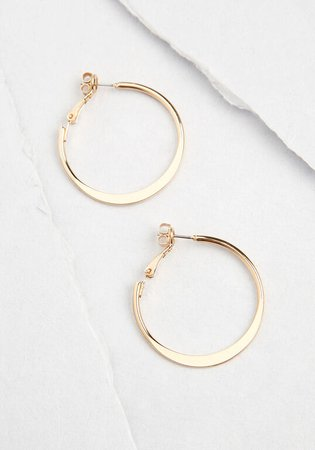 Minimalist Motto Hoop Earrings Gold | ModCloth