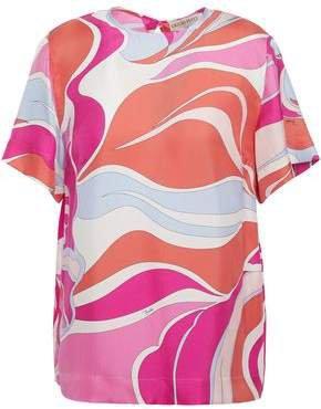 Printed Silk-twill T-shirt