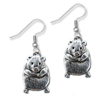 Pewter Large Hamster Earrings