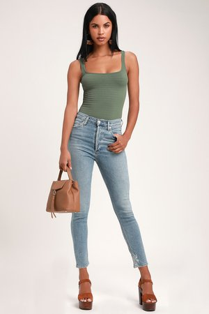 AGOLDE Nico High Rise - Skinny Jeans - Light Wash Skinny Jeans