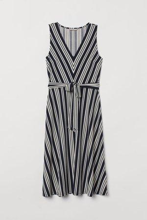 Dress with Tie Belt - Blue