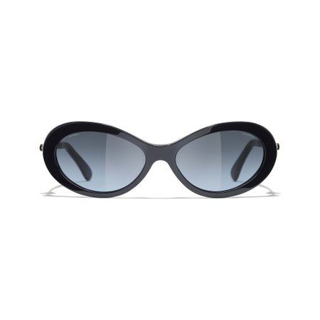 Oval Sunglasses Dark Blue eyewear | CHANEL