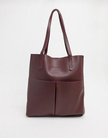 Claudia Canova – Vinröd ofodrad toteväska med två fack och urtagbar extra väska | ASOS