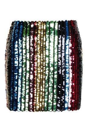 Rainbow Stripe Sequin Mini Skirt | Boohoo