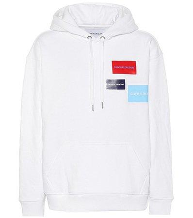 Printed cotton-blend hoodie
