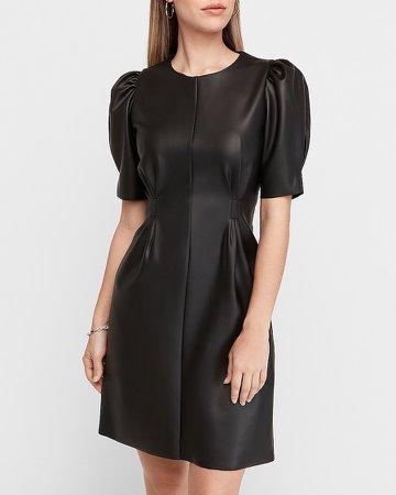 Puff Sleeve Vegan Leather Sheath Dress