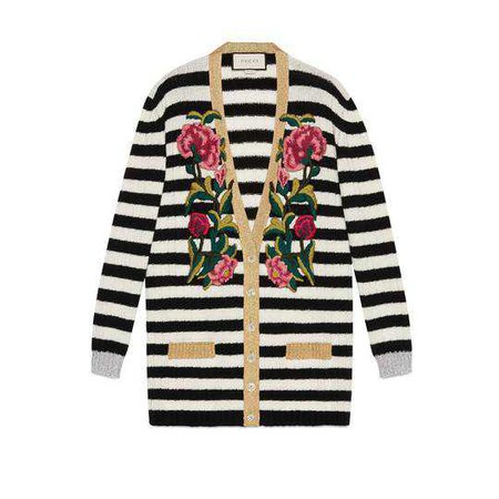 Embroidered cashmere wool oversize cardigan - Gucci Women's Sweaters & Cardigans 478281X9D451099