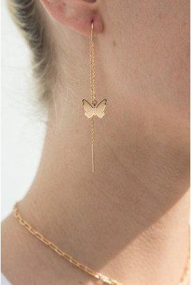 Gold Butterfly Drop Earrings l Brandy Melville