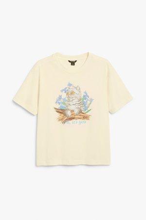 Cotton tee - Cat print - T-shirts - Monki WW