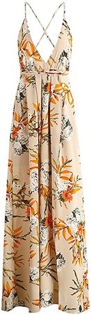 BerryGo Women's Sexy Deep V Neck Backless Floral Print Split Maxi Party Dress M at Amazon Women's Clothing store