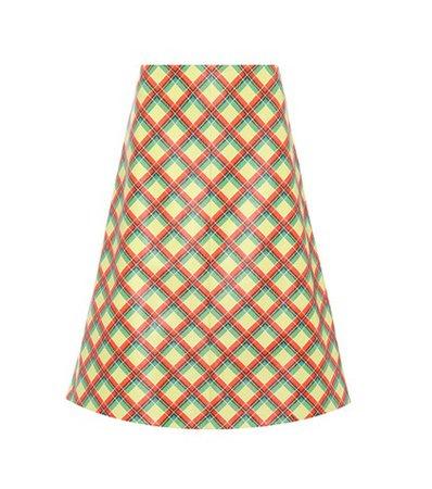 Plaid leather skirt