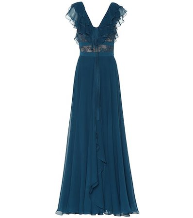 Silk-blend and lace gown