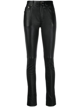 Saint Laurent Skinny-Fit Leather Trousers Aw20 | Farfetch.Com