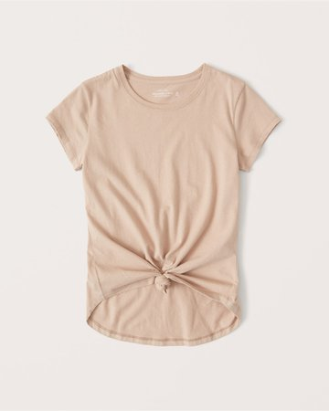 pink Women's Knotted Crew Tee | Women's New Arrivals | Abercrombie.com