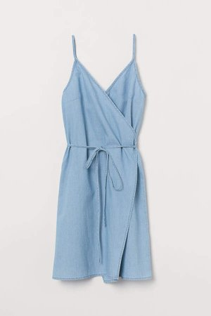 Short Wrap Dress - Blue