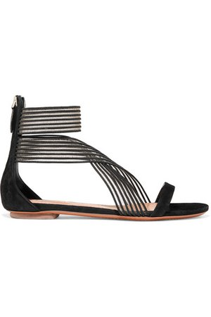 Alaïa | Suede and mesh sandals | NET-A-PORTER.COM