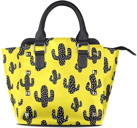 My Little Nest Top Handle Satchel Handbag Cactus Yellow Ladies PU Leather Shoulder Bag Crossbody Bag Women's Black rvaqyx1644-New Shoes