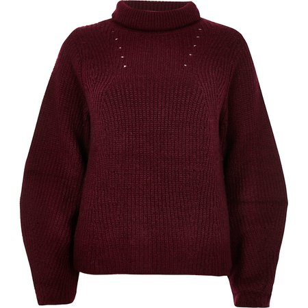 Burgundy knit roll neck sweater - Sweaters - Knitwear - women