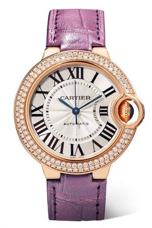 Cartier | Ballon Bleu de Cartier Automatic 36mm 18-karat pink gold, alligator and diamond watch | NET-A-PORTER.COM