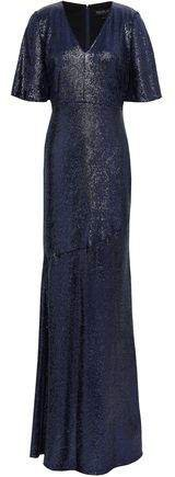 Heather Fluted Sequined Stretch-jersey Gown