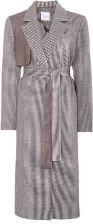 Agnona Cashmere-Cotton Houndstooth Trench Coat