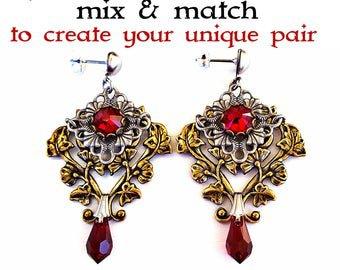Clothing Gift Victorian Gothic Earrings Swarovski Golden | Etsy