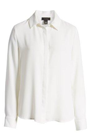 Halogen® Hidden Button Long Sleeve Blouse (Regular & Petite) | Nordstrom