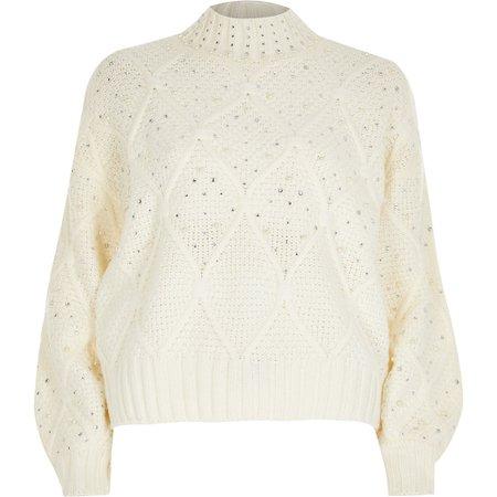 Cream embellished diamante long sleeve jumper | River Island
