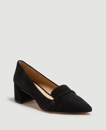 Braydon Suede Block Heel Pumps | Ann Taylor