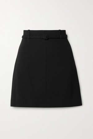 Belted Crepe Mini Skirt - Black