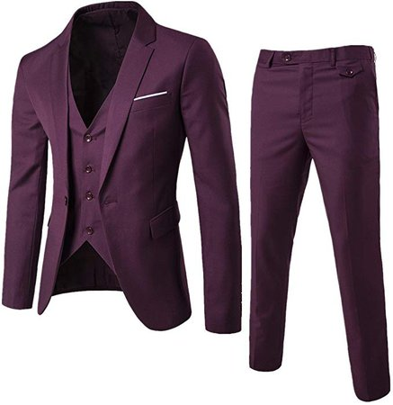 Fashionmy Men's Suits 3 Piece Slim Fit Wedding Bridegroom Suit Casual Dark Red L at Amazon Men's Clothing store: