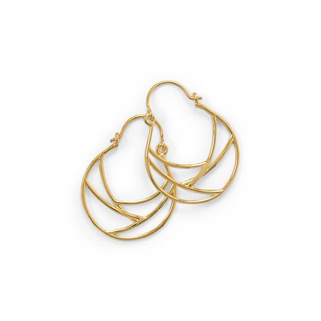 14 Karat Gold Plate Line Wire Design Hoop Earrings - MW House of Style