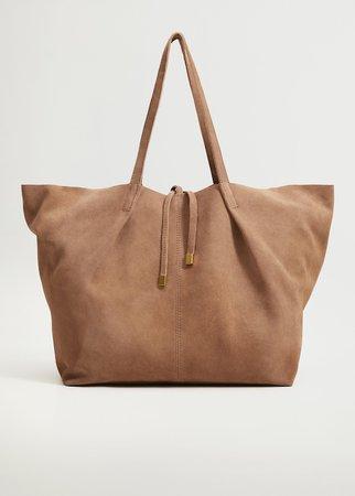Leather shopper bag - Woman   Mango Slovakia