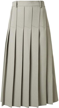 column pleated midi skirt