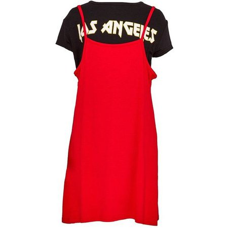 2 In 1 Red Slogan T Shirt and Slip Dress